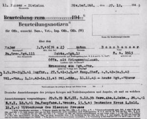 Major Anton Donnhauser Evaluation